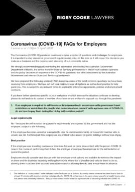 FAQ's, COVID-19